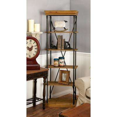 5-Tier Office-Inspired Brown Shelving Unit
