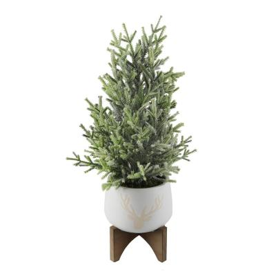 20 in. H Frosted Artificial Faux Chiristmas Tree in 6 in. Staghead Ceramic Pot on Wood Stand
