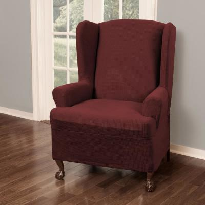 Reeves Stretch Red Wing Chair Slipcover (1-Piece)