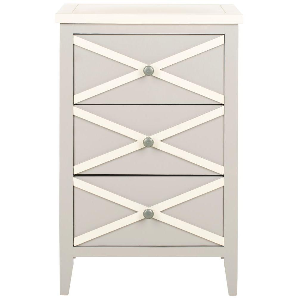 Safavieh Sherrilyn Gray and White Storage Side Table