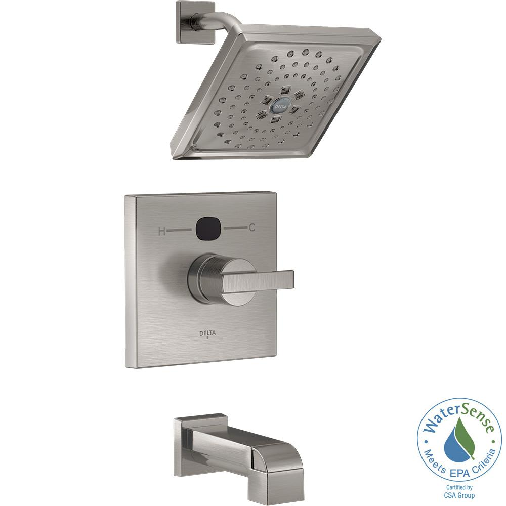 delta temp2o angular modern tub and shower faucet trim kit in stainless valve not the home depot