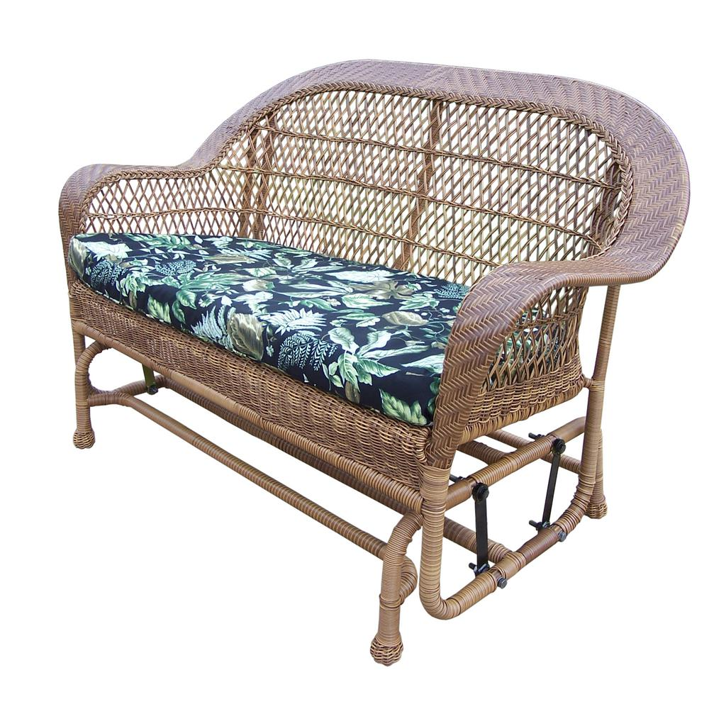 Coventry Natural Wicker Outdoor Glider with Black Floral Cushion