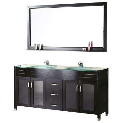 Waterfall 61 in. W x 22 in. D Vanity in Espresso with Glass Vanity Top and Mirror in Mint