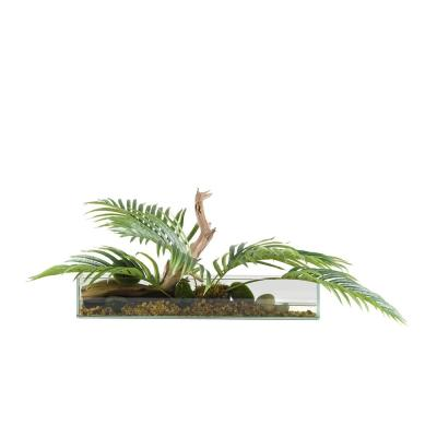 Indoor Hawaiian Palm Fronds in Long Rectangle Glass