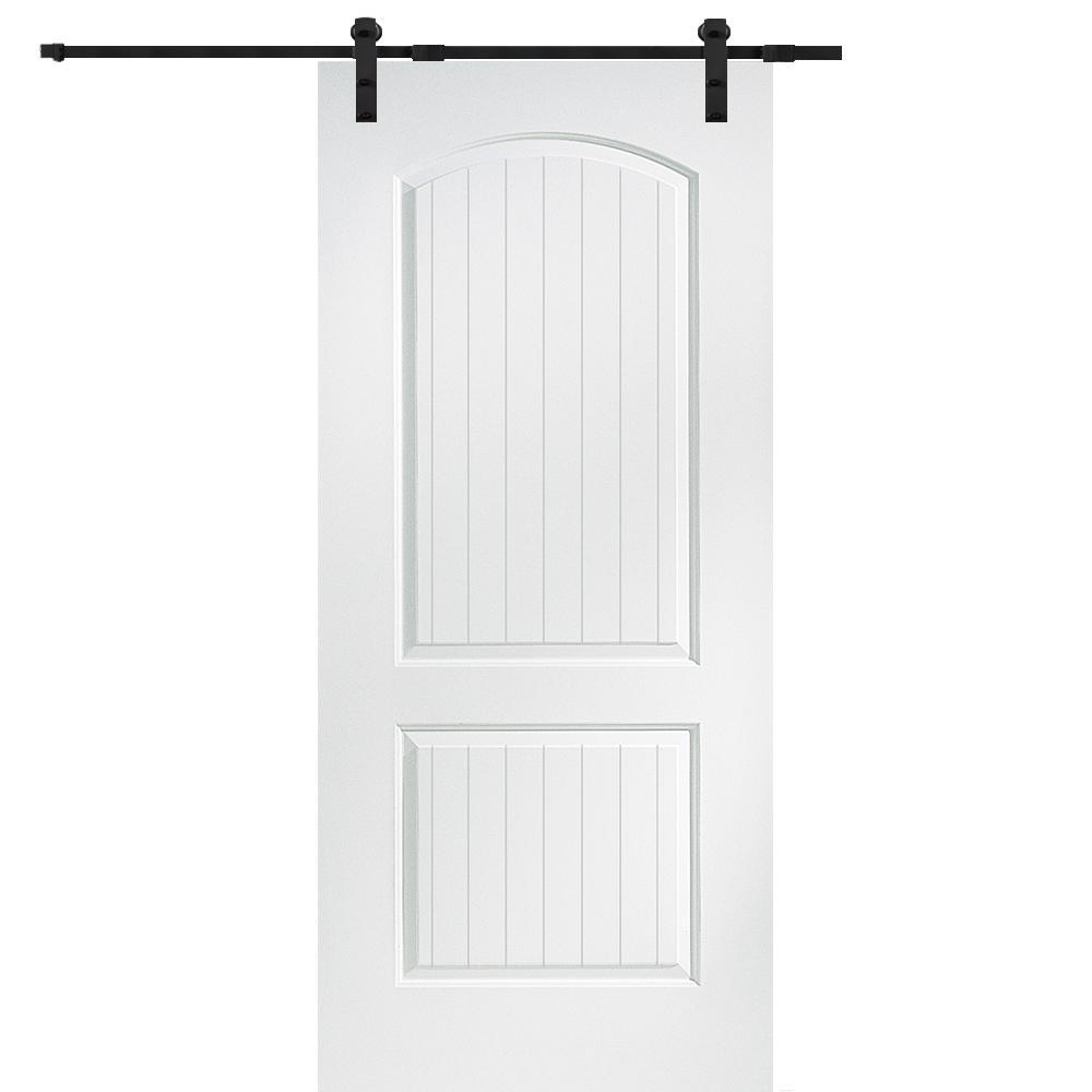 32 in. x 80 in. Primed Molded MDF Cashal Barn Door with Sliding Door Hardware Kit