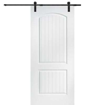 36 in. x 80 in. Primed Molded MDF Cashal Barn Door with Sliding Door Hardware Kit