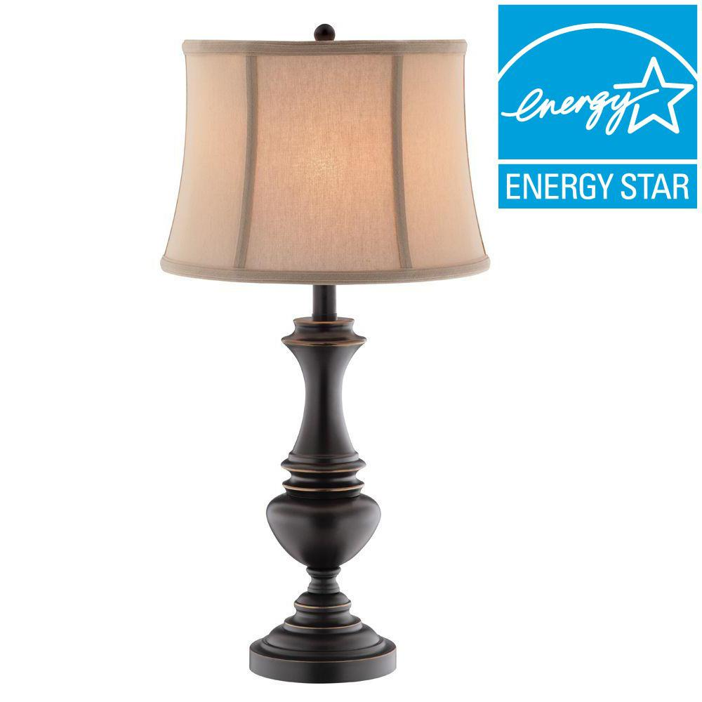 Hampton Bay Candler 25.75 in. Oil Rubbed Bronze Table Lamp with TTL 20 Compliant Fixture