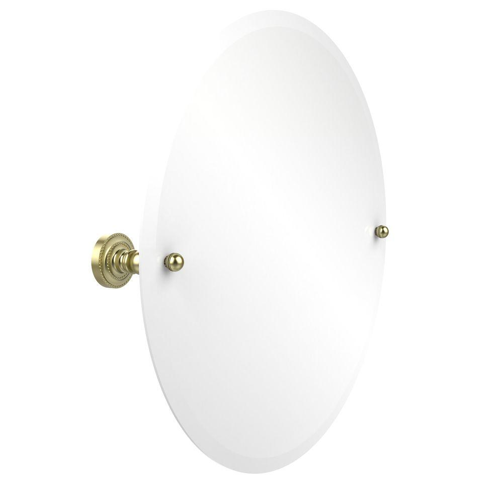 Allied Brass Dottingham Collection 22 in. L x 22 in. W Frameless Round Tilt Mirror with Beveled Edge in Satin Brass
