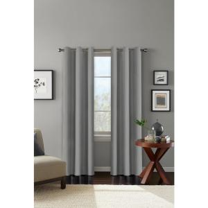 100% Blackout Carson Grey Grommet Curtain Panel 42 in. W x 84 in. L