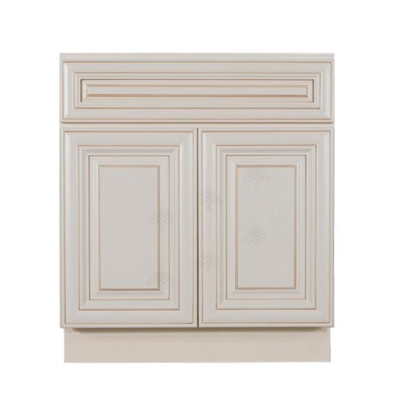 Princeton Assembled 24 in. W x 21 in. D x 33 in. H Bath Vanity Cabinet with 2-Doors Creamy White Glazed