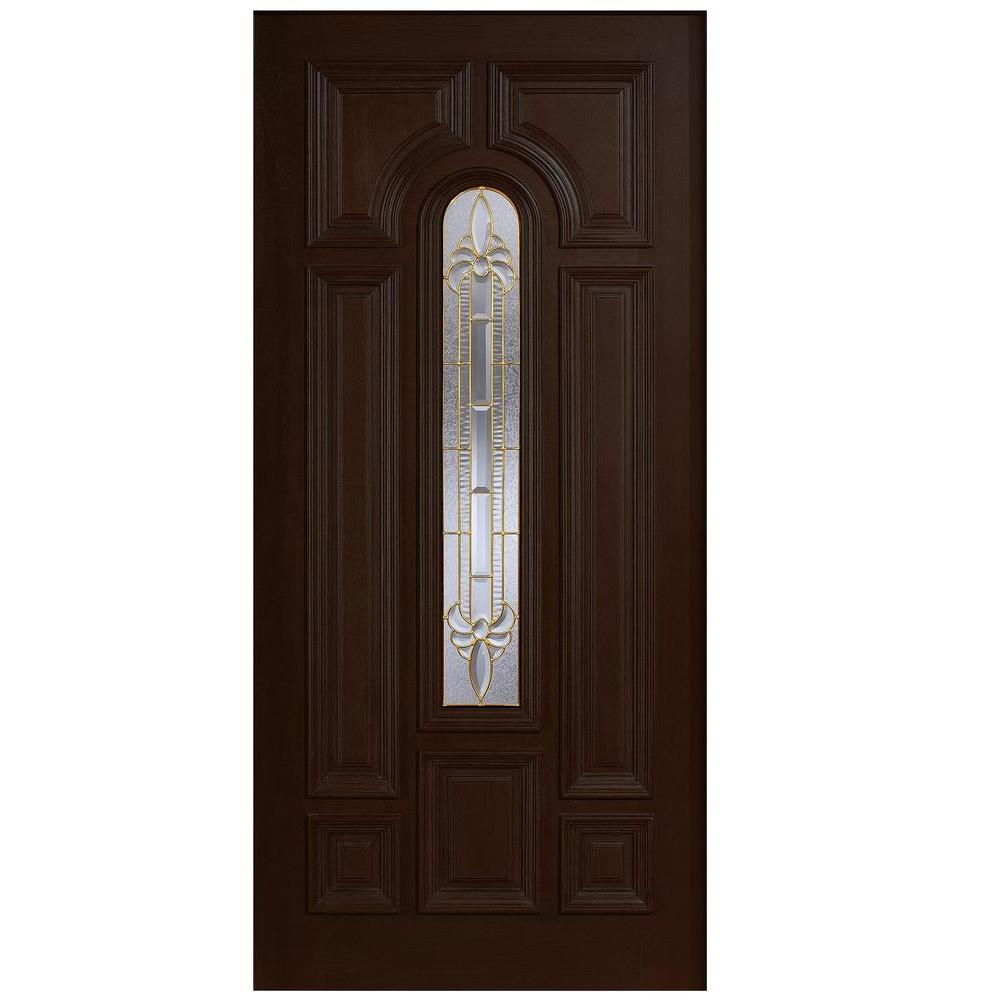 Main Door 36 in. x 80 in. Mahogany Type Arch Glass Prefinished Espresso Beveled Brass Solid Stained Wood Front Door Slab