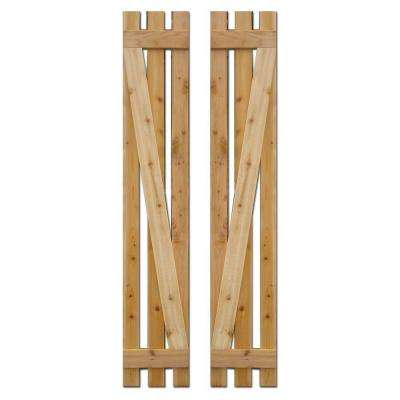 12 in. x 67 in. Baton Spaced Z Board and Batten Shutters (Natural Cedar) Pair
