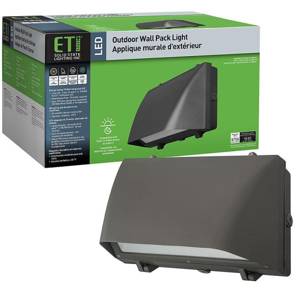 320-Watt Equivalent Integrated LED Bronze 16 in. Outdoor Security Wall Pack Light 5000K Full Cut Off 9750 Lumens