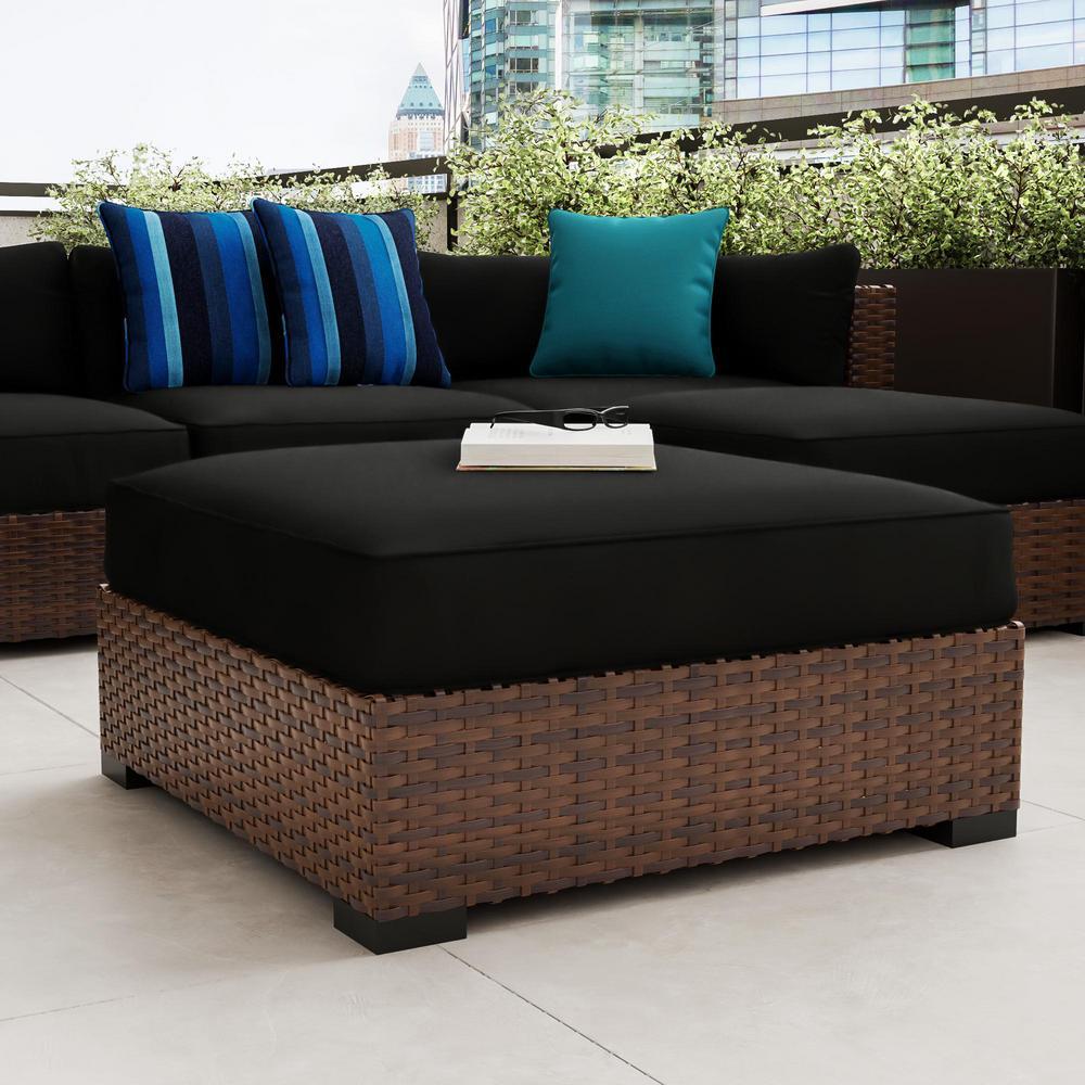 Commercial Grade Outdoor Patio Ottoman Cushion in Sunbrella Canvas Raven Black