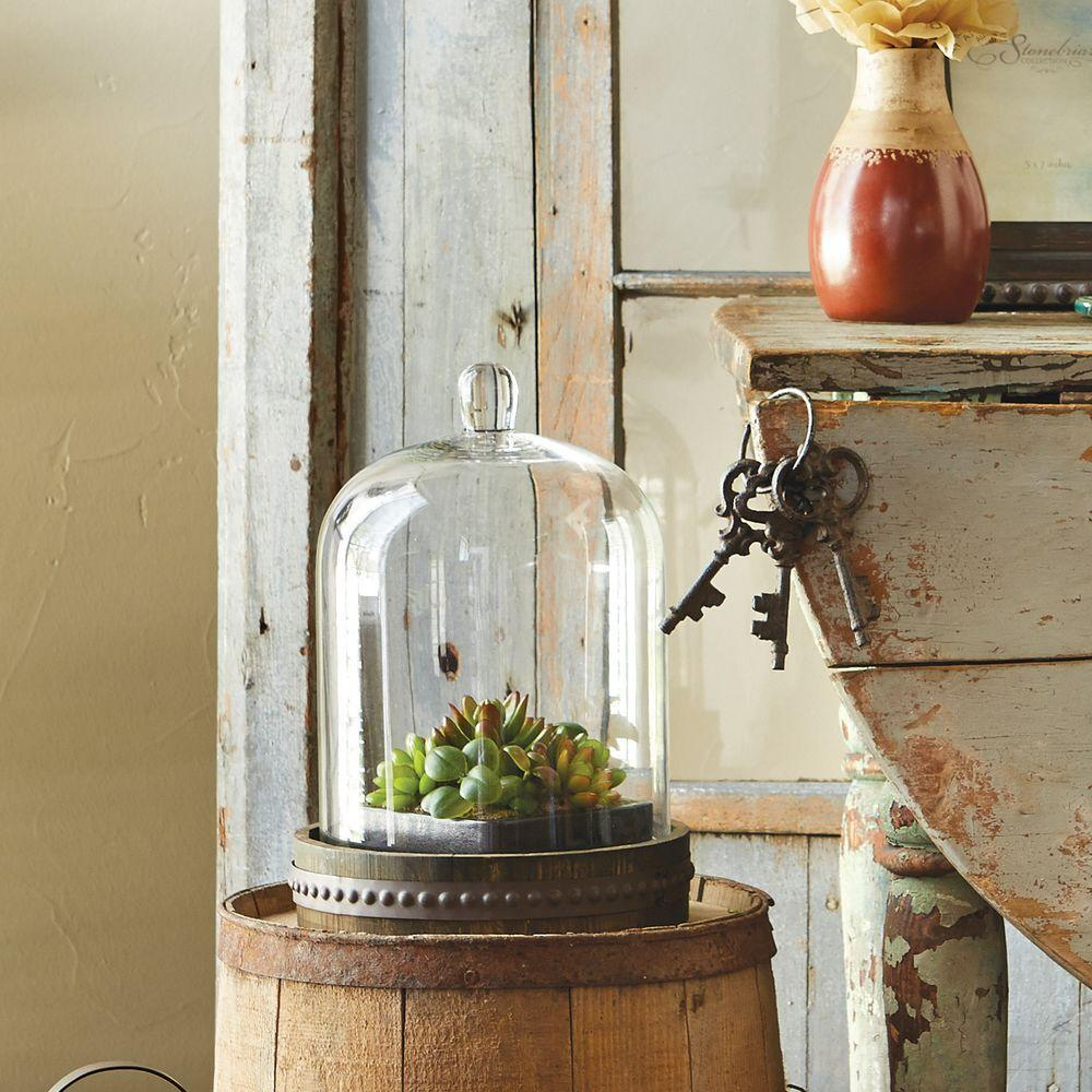 Stonebriar Collection 6 in. x 8.5 in. Rustic Brown Glass and Wood Bell Shape Cloche