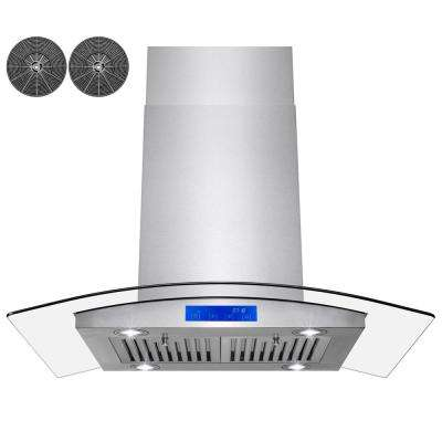 36 in. Convertible Kitchen Island Range Hood in Stainless Steel with Tempered Glass LEDs and Carbon Filters