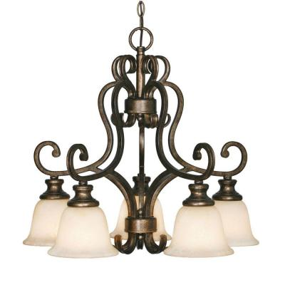 Dalian Collection 5-Light Burnt Sienna Nook Chandelier
