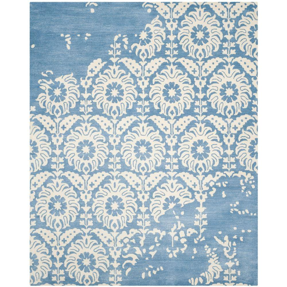 Bella Light Blue/Ivory 8 ft. x 10 ft. Area Rug