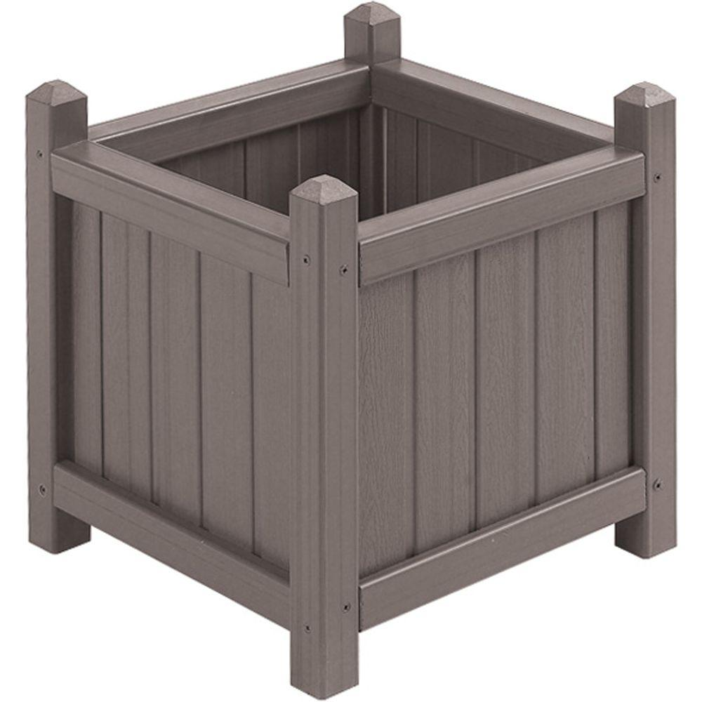 16 in. Square Mist All Weather Composite Crown Planter
