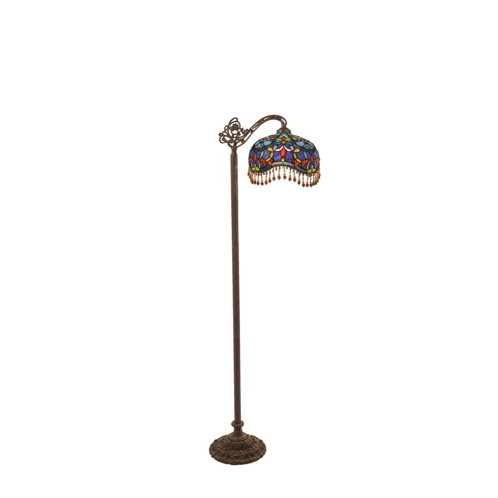 RiverofGoods River of Goods Victorian Beaded 60.5 in. Blue Stained Glass Side Arm Floor Lamp