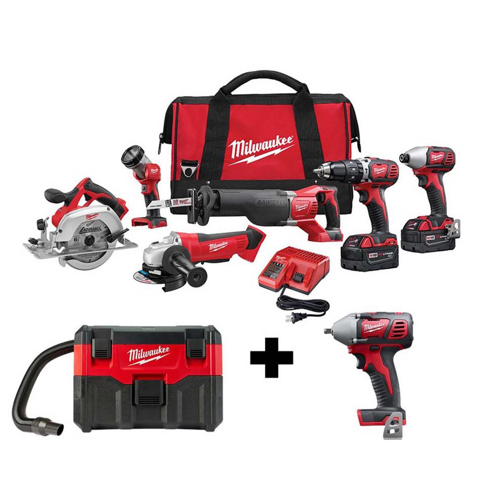 Milwaukee M18 18-Volt Lithium-Ion Cordless Combo Tool Kit (6-Tool) with Free M18 Wet/Dry Vacuum and 3/8 in. Impact Wrench was $927.0 now $599.0 (35.0% off)