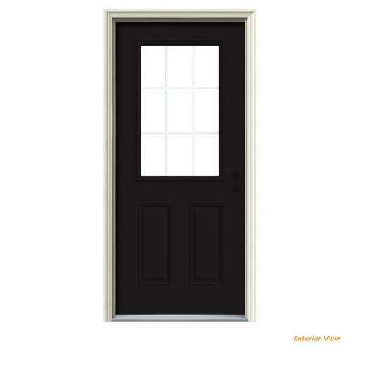 36 in. x 80 in. 9 Lite Black Painted w/White Interior Steel Prehung Left-Hand Inswing Front Door w/Brickmould