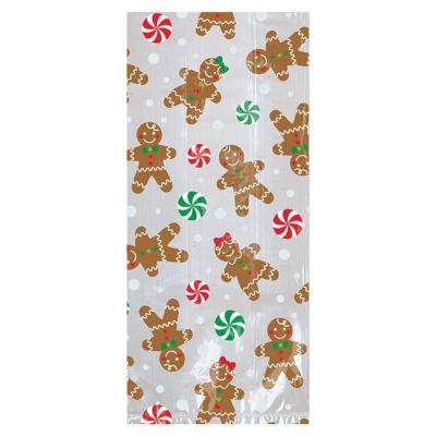 9.5 in x 4 in. x 2 in. Christmas Gingerbread Cello Small Party Bag (20-Count 7-Pack)