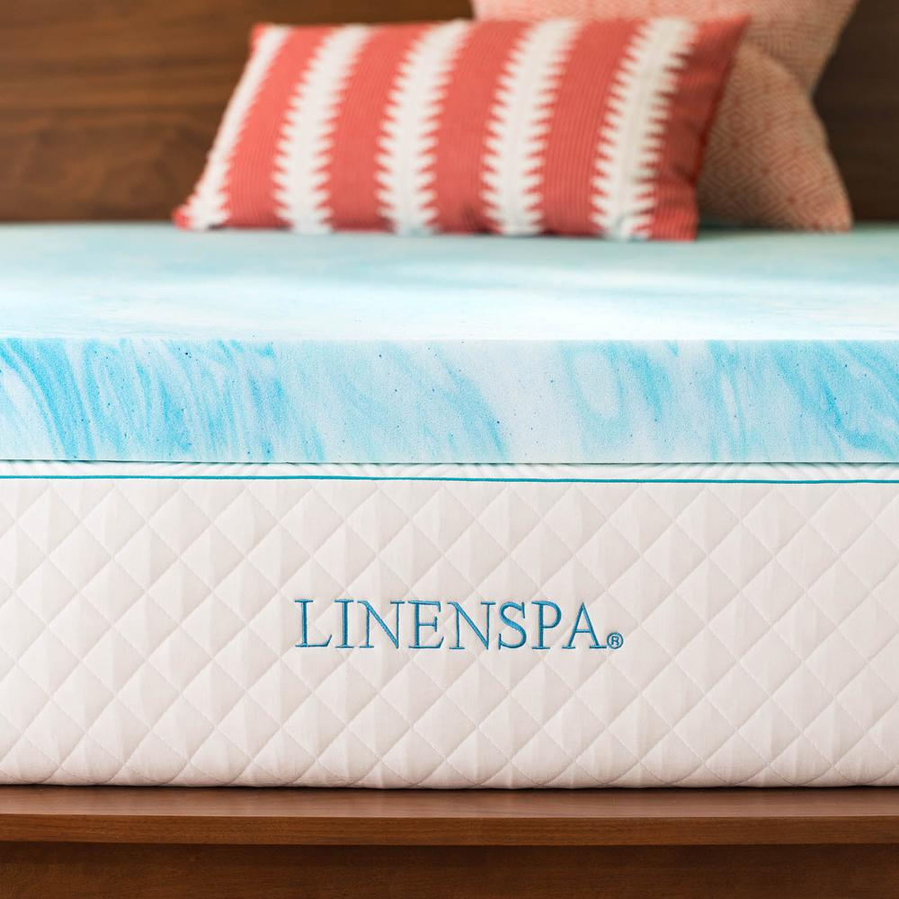Linenspa 4 in. Queen Gel Swirl Memory Foam Topper