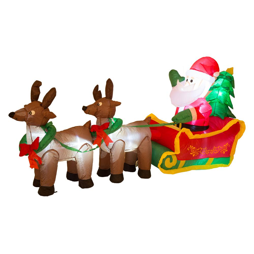 Glitzhome 6.89 ft. L Lighted Inflatable Santa Sleigh Decor ...