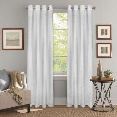 "Light Filtering Joyce Jacquard White Grommet Curtain Panel 52"" W x 84"" L"