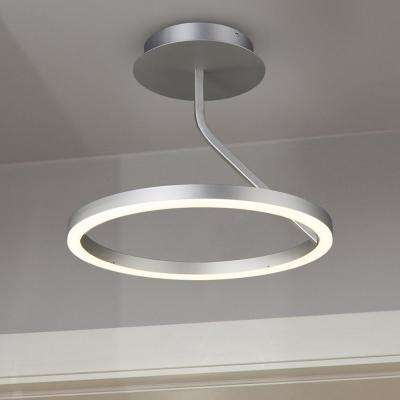 Zuben Collection 18 in. Integrated LED Modern Circular Ceiling Fixture in Silver