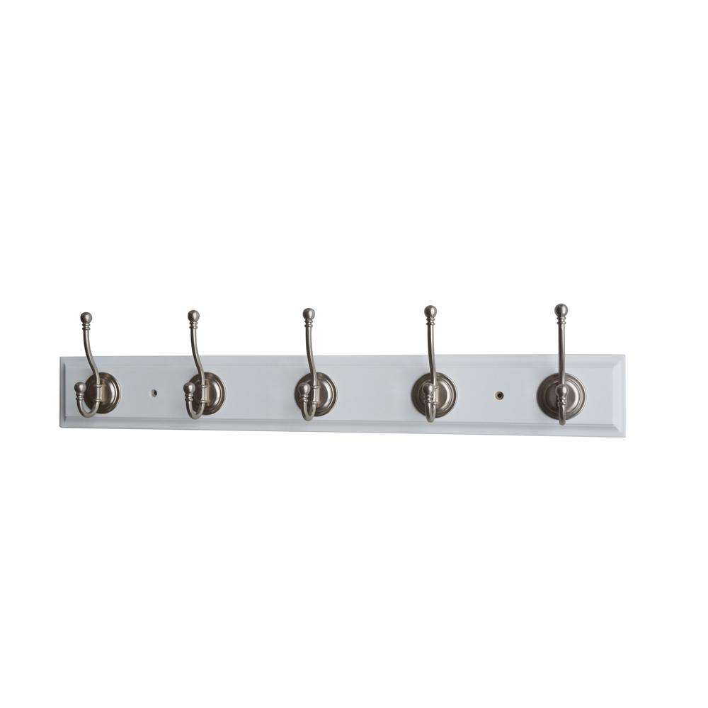 27 in. L Satin Nickel Round Ball Tipped 5-Hooks on White