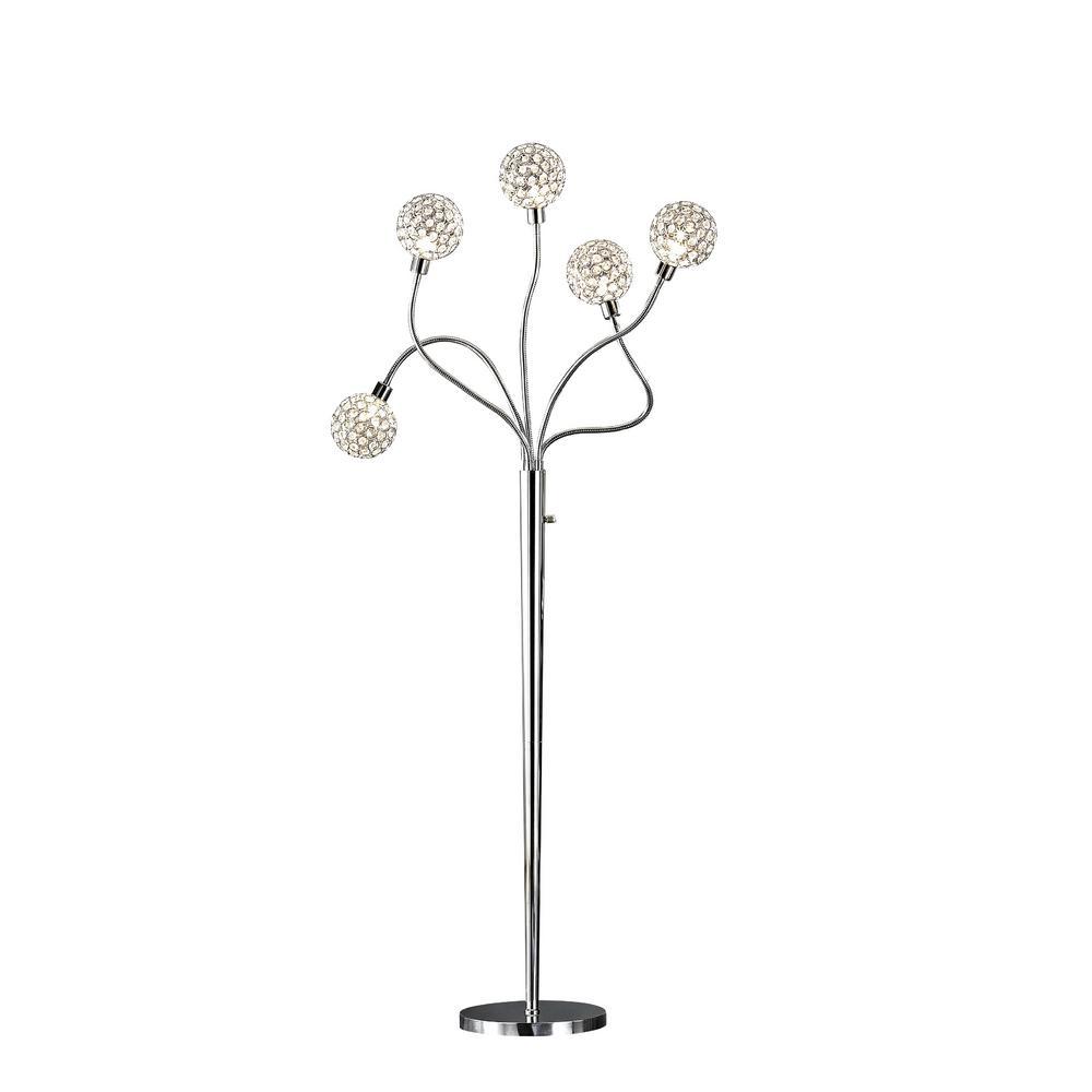 Soho II 65 in. 5-Light Chrome LED Crystal Balls Floor Lamp with Dimmer