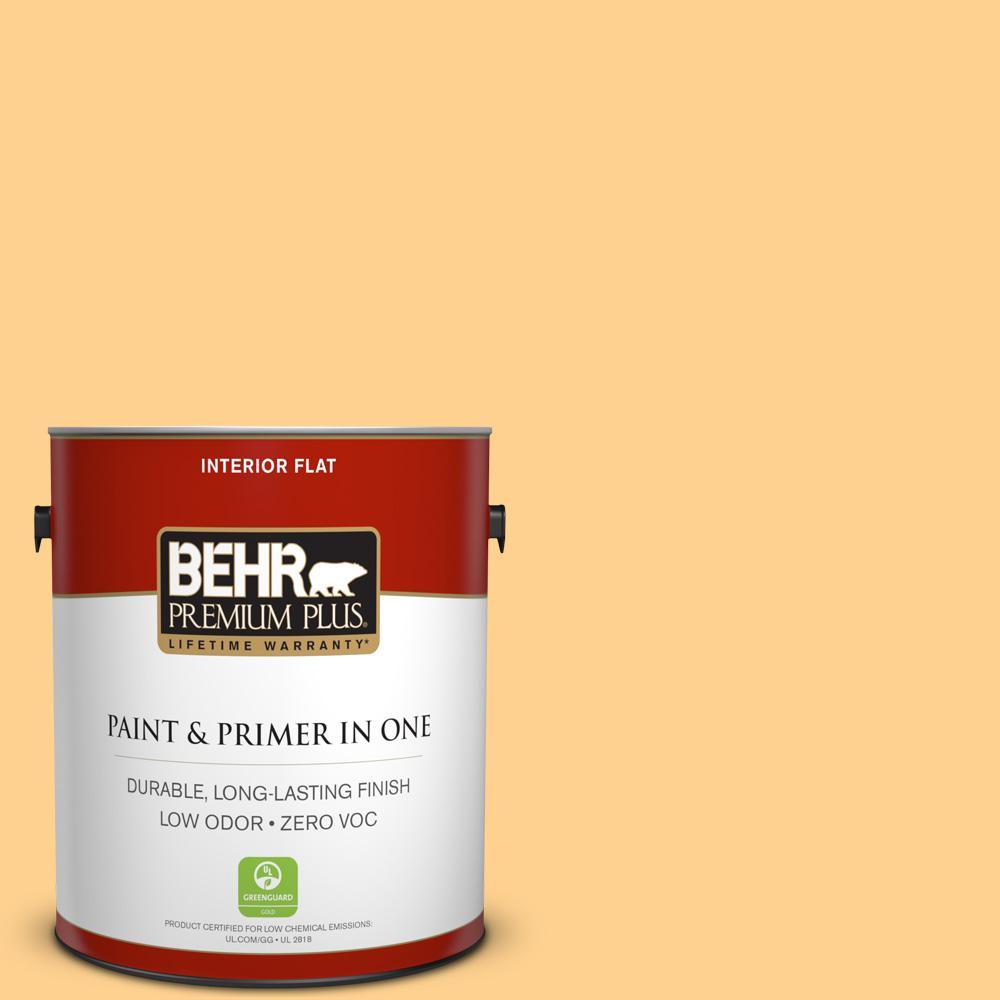 BEHR Premium Plus 1-gal. #300B-5 Honey Bird Zero VOC Flat Interior Paint