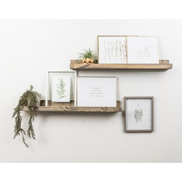 Del Hutson Designs Rustic Luxe 7 in. x 36 in. Gray Pine Floating Decorative Wall Shelves