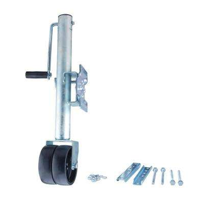 2000 lb. Payload Capacity Side Wind Trailer Jack with Dual Wheels and Horizontal Mounts