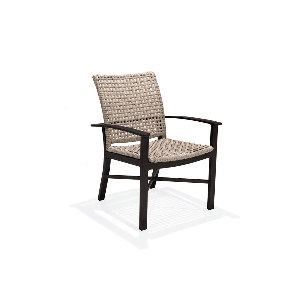 Jasper Stationary Textured Pewter Wicker Outdoor Dining Chair (2-Pack)