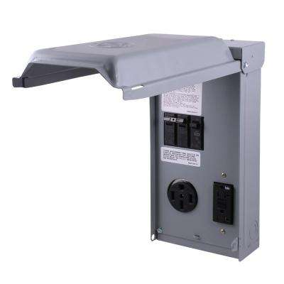 70 Amp 2-Space 2-Circuit 240-Volt Unmetered RV Outlet Box with 50 Amp and 20 Amp GCFI Circuit Protected Receptacles