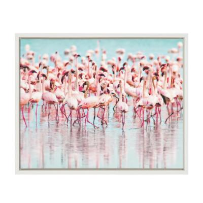 """Sylvie """"Flamingos"""" by Amy Peterson Framed Canvas Wall Art"""