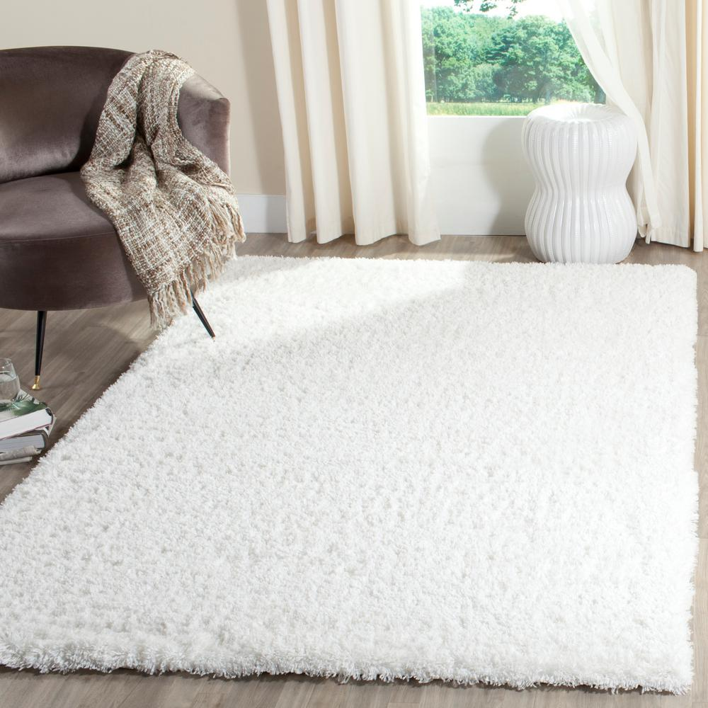 Indie Shag White 5 ft. 1 in. x 7 ft. 6