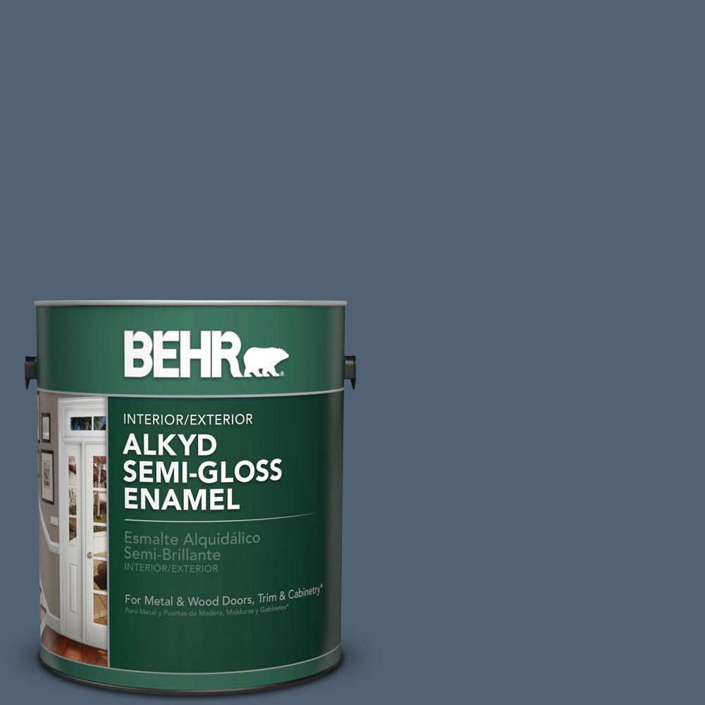 1 gal. #T17-17 Midnight Show Semi-Gloss Enamel Alkyd Interior/Exterior Paint