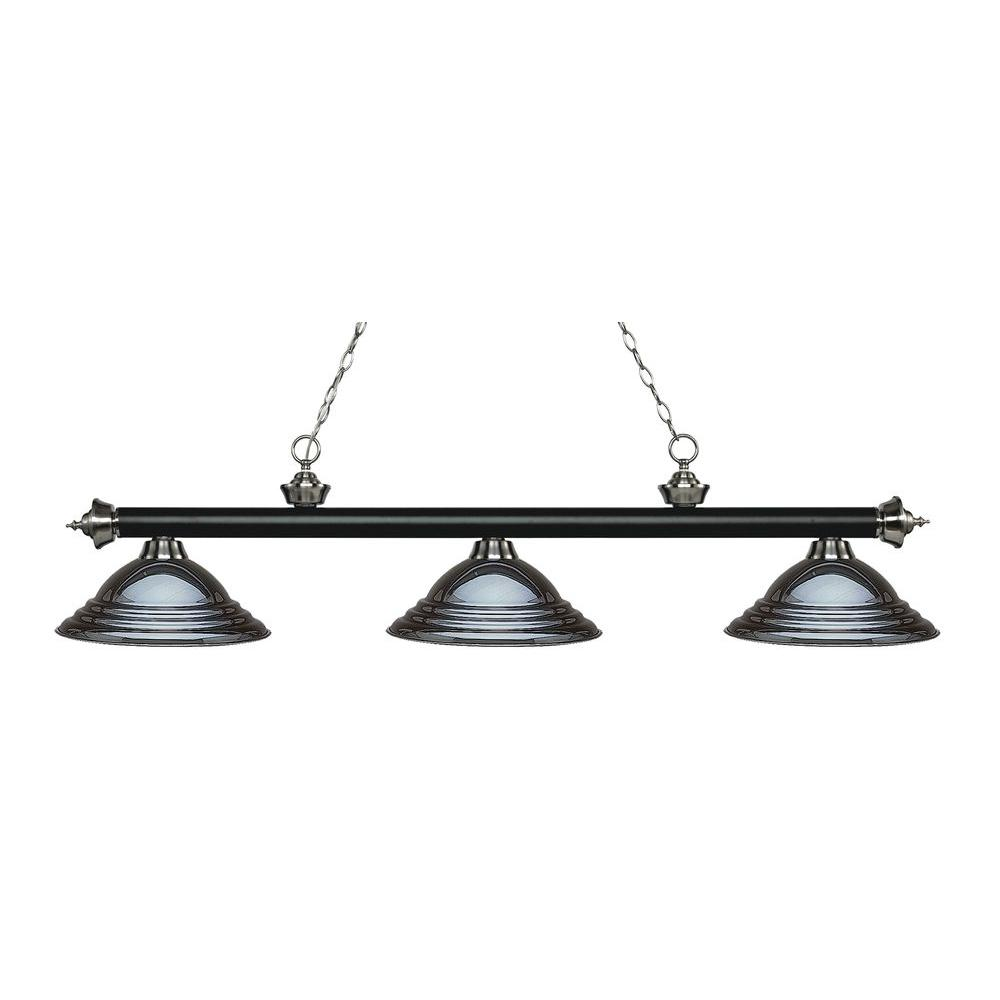 Kelly 3-Light Matte Black and Brushed Nickel Island Light with Gun