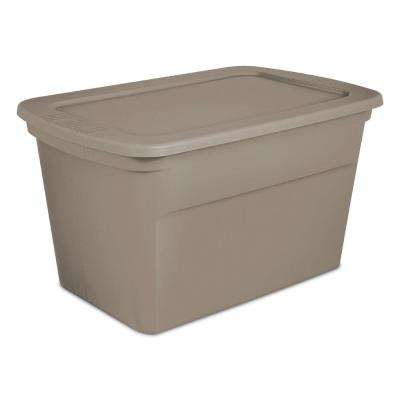 30 Gal. Plastic Stackable Storage Tote Container Box, Taupe(18-Pack)