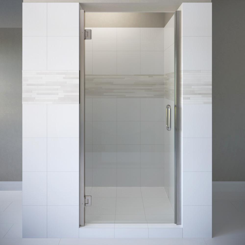 Coppia 27 in. x 72 in. Semi-Frameless Pivot Shower Door in Brushed Nickel with Handle