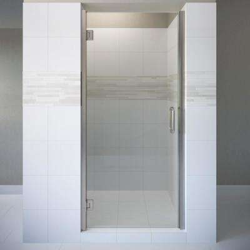 Coppia 27 in. x 76 in. Semi-Frameless Pivot Shower Door in Brushed Nickel with Handle