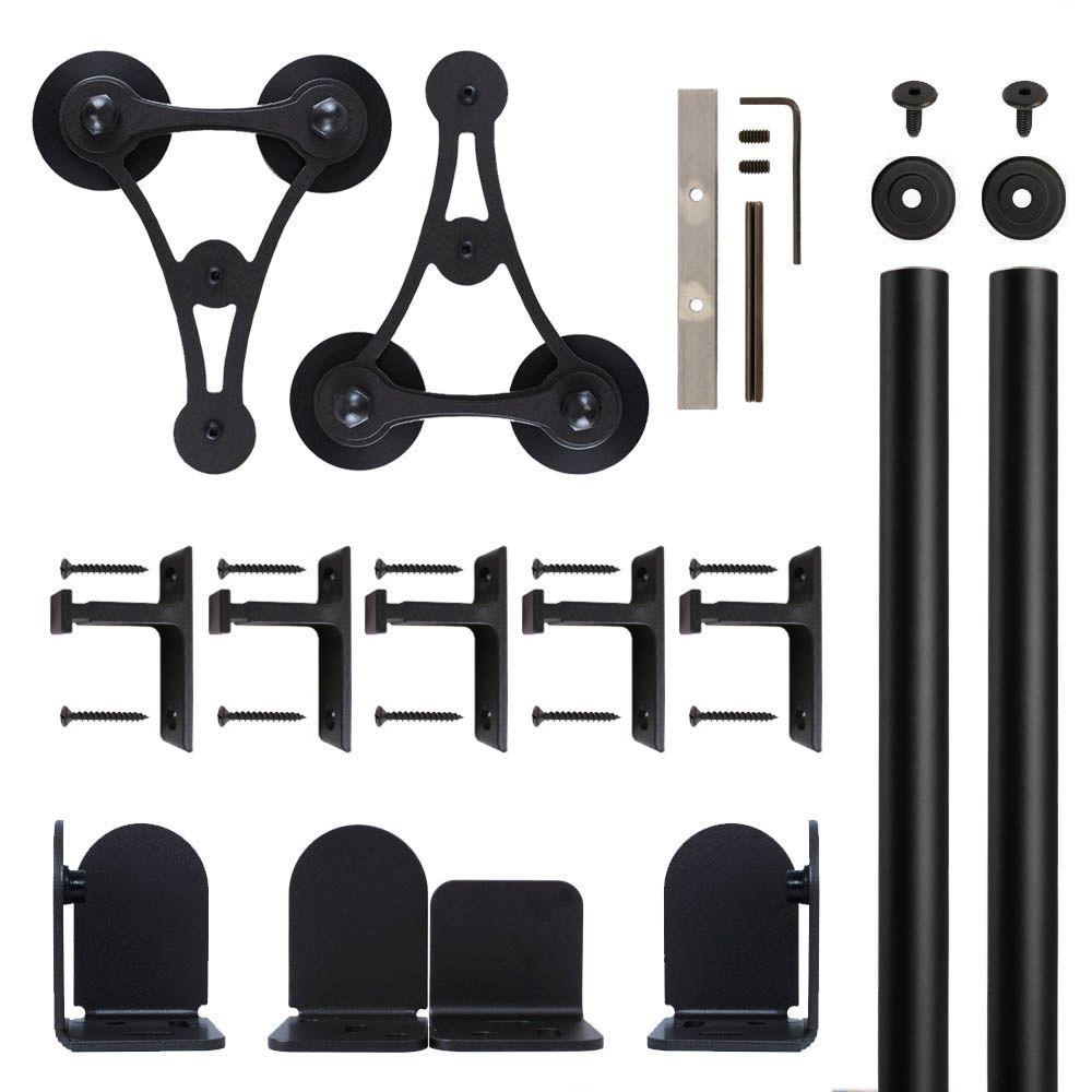 V-8 Black Rolling Door Hardware Kit for 1-1/2 in. to 2-1/4 in. Door