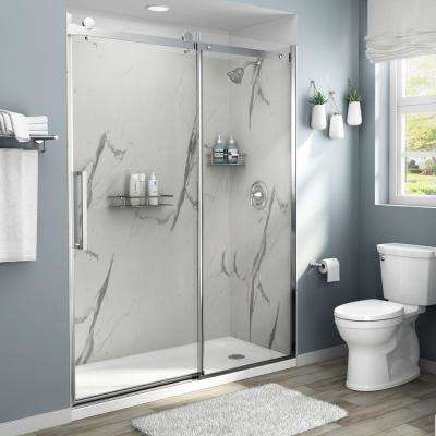 Passage 60 in. x 72 in. 4-Piece Glue-Up Shower Alcove Wall in Powder Marble