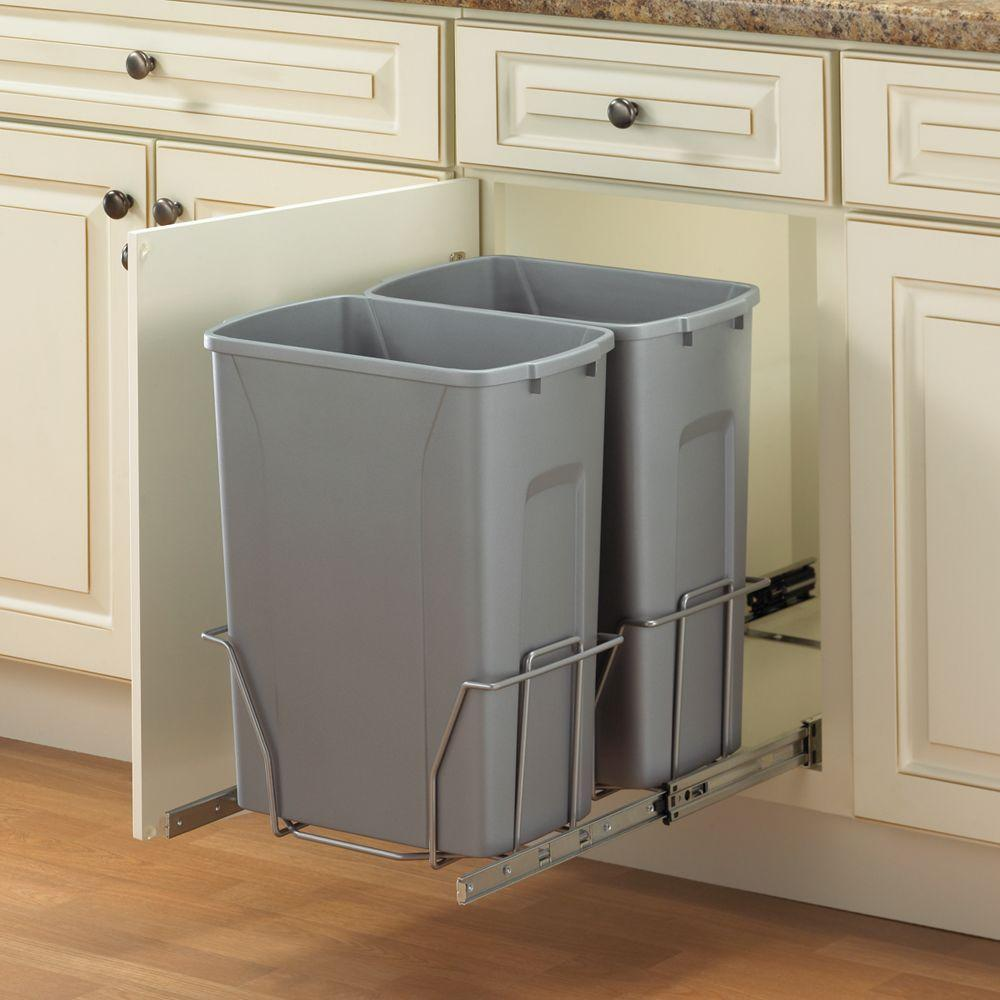 Real Solutions for Real Life 18.75 in. H x 14.38 in. W 22 in D Steel  In-Cabinet 35 Qt. Double Pull-Out Trash Can in Platinum