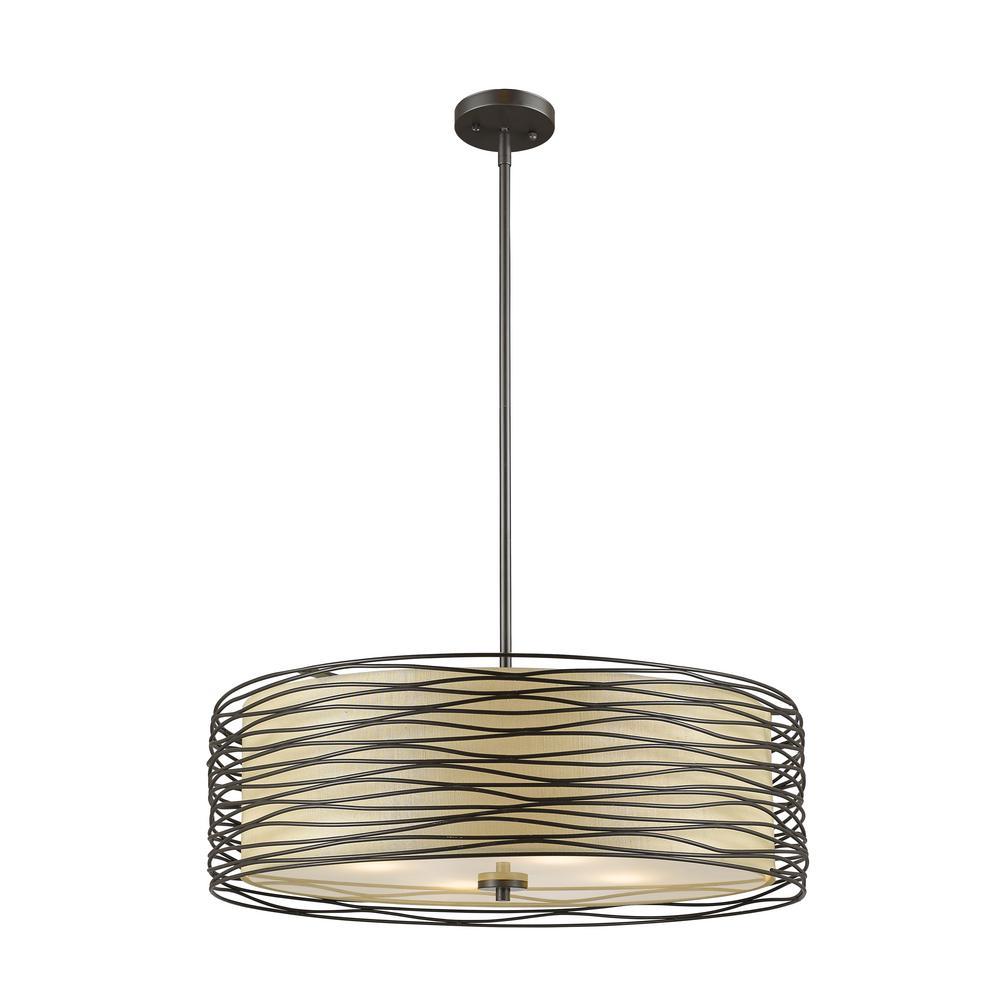 Verona 4-Light Bronze Pendant with Flax Linen Fabric Shade