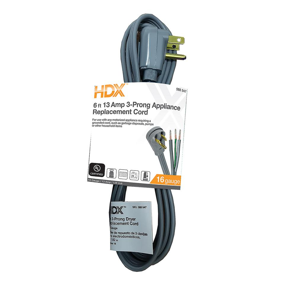 HDX 6 ft. 13 Amp 3-Prong Grey Appliance Replacement Cord